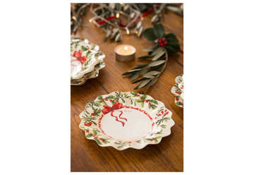 Immagine di Piatti New Shape Holly Christmas cm 24 conf. 8 pz